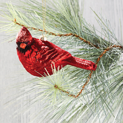Glass Cardinal Ornament