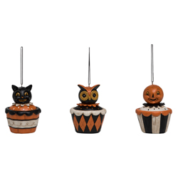 Halloween Cupcake Ornaments Set