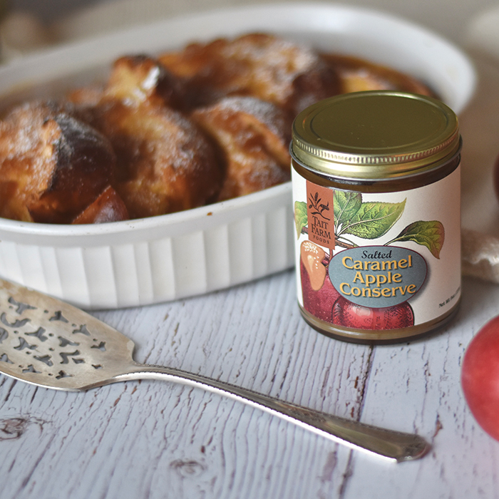 Baked French Toast with Salted Caramel Apple Conserve