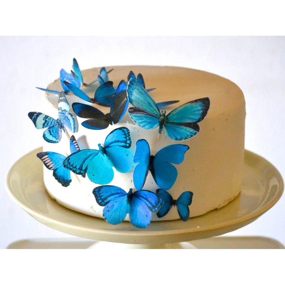 Blue Butterflies Wafer Paper