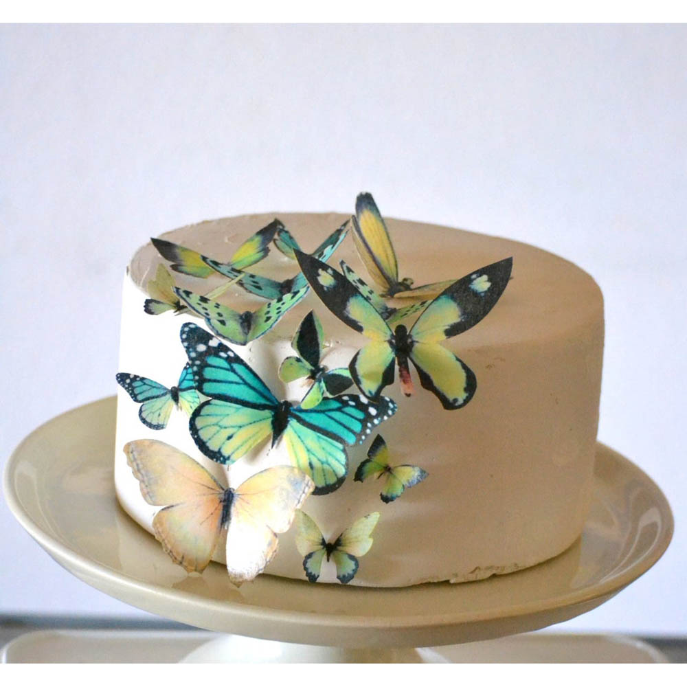 Green Butterflies Wafer Paper