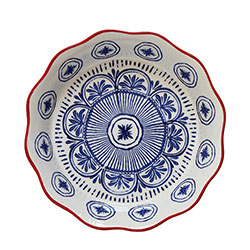 Stoneware Pie Dish Blue & Red
