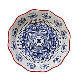 SALE!  Stoneware Pie Dish Blue & Red