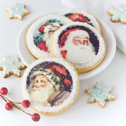 Holiday Santa Faces Wafer Paper