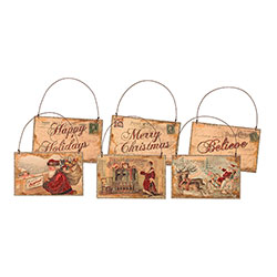 Believe Postcard Ornament Set