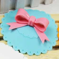 Blue with Pink Bow Silicone Drink Cover