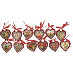 Vintage Valentine Mini Glitter Ornaments