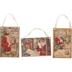 Vintage Santa Post Card Ornaments