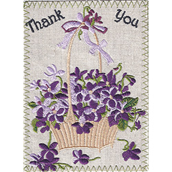 Thank You Embroidered Linen Card