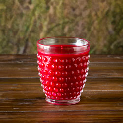 Cranberry Candle in Hobnail Glass