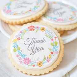 Floral Wreath Thank You Wafer Paper