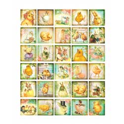 Vintage Easter Mini Squares Wafer Paper