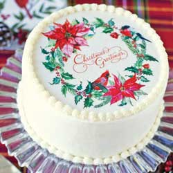 "Holiday Wreath 8"" Cake Topper Wafer Paper"