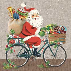 Santa on Bike Lunch Paper Napkins