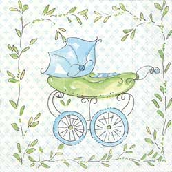 SALE!  Blue Baby Carriage Paper Cocktail Napkins