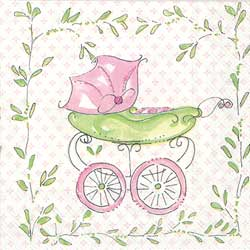 Pink Baby Carriage Paper Cocktail Napkins