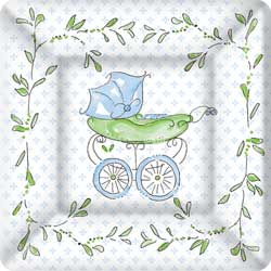 SALE!  Blue Baby Carriage Paper Dessert Plates
