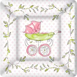 SALE!  Pink Baby Carriage Paper Dessert Plates