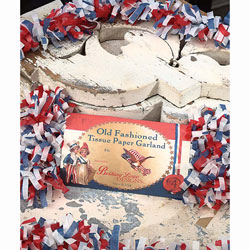 Tissue Garland Red White & Blue