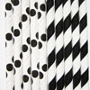 Dots & Stripes Paper Party Straws, Black, Set of 24