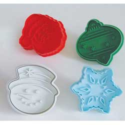 "Large Christmas Stamp & Cutter 2.75"",  Set of 4"