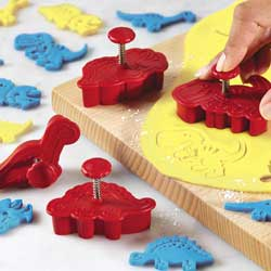 Dinosaurs Cookie Press & Cutter, Set of 4