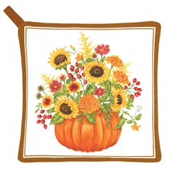 SALE!!  Pumpkin with Flowers Pot Holder