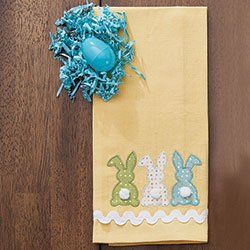 SALE!!  Three Bunnies Applique Dishtowel