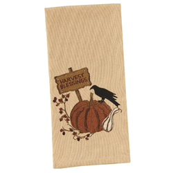 SALE!  Crow & Pumpkin Embroidered Dishtowel