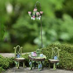 SALE!  Mini Fairyland Table, Chair & Lamp Figurine Set
