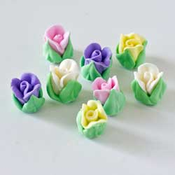 Tiny Rose Buds Assorted Colors Icing Decorations