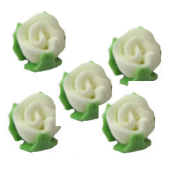 Tiny Rose Buds White Icing Decorations