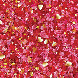 Red with Gold Hearts Glittery Sugar