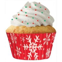 Red Snowflake Cupcake Liners