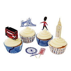 London Cupcake Kit, Set of 24 Liners & Picks
