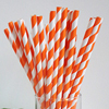SALE!  Striped Paper Straws Orange, Package of 25