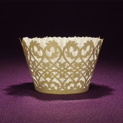 Filigree Gold Shimmer Cupcake Wrapper