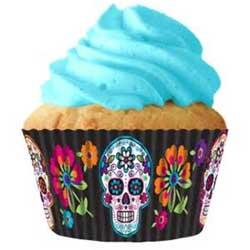 Black Sugar Skull Cupcake Liners