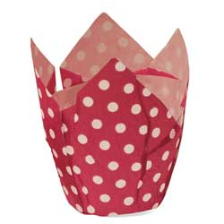 Red & White Polka Dot Folded Baking Cup Set