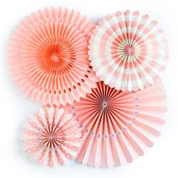 Coral Party Fan Set