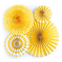 Yellow Party Fan Set