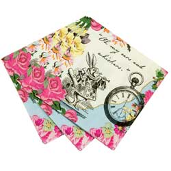 Truly Alice Dainty Tea Party Beverage Napkins, Pkg 20