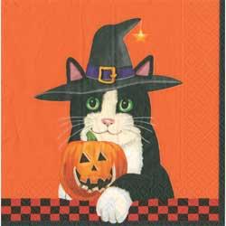 SALE!!  Black Cat with Hat Paper Cocktail Napkins