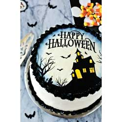 """Haunted House 8"""" Cake Topper Wafer Paper"""