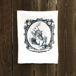 SALE!  White Rabbit Tea Towel