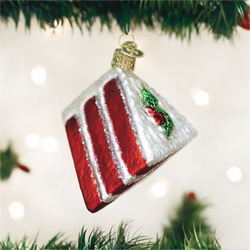 Red Velvet Cake Glass Ornament