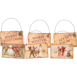 Let It Snow Postcard Ornaments