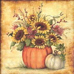 Sunflowers In Pumpkin Lunch Napkins