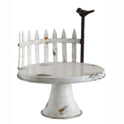 SALE!  Round Tin Fence & Bird Cake Stand