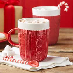 Red Sweater Mug With Candy Cane Stirrer